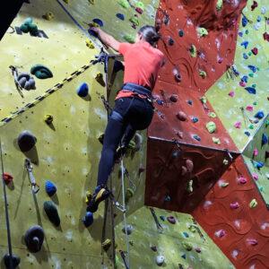 Indoor lead climbing at Rock & Rapid, N Devon