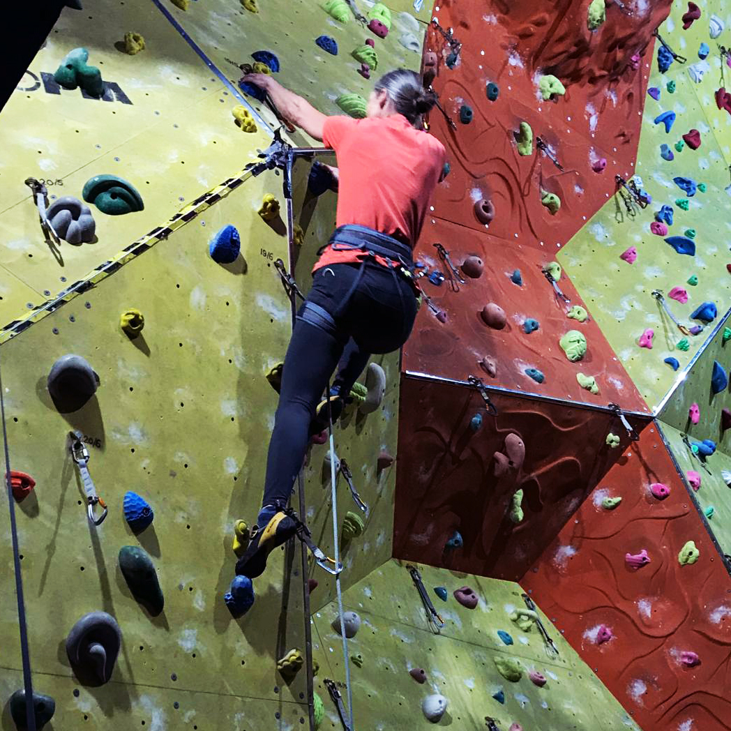 Indoor lead climbing at Rock & Rapid, N Devon